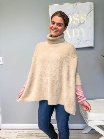 Turtleneck Poncho Sweater Khaki
