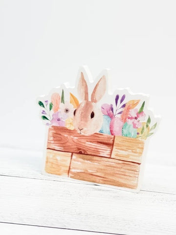 Bunny In Crate Cutout Decor