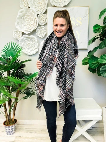 Plaid Fringe Scarf Black