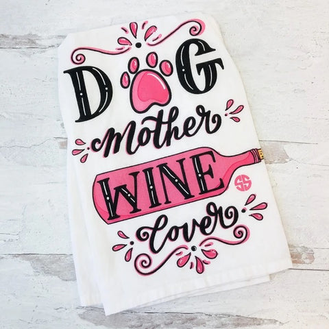 Simply Southern Dish Towel 'Dog Mother Wine Lover'