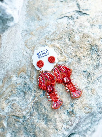 Lobster Beaded Earrings