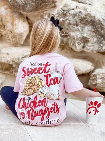 'Sweet Tea & Chicken Nuggets' Simply Southern Youth Short Sleeve Tee
