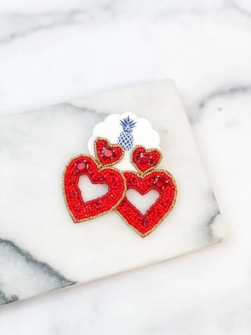 Red Beaded Dangle Heart Earrings