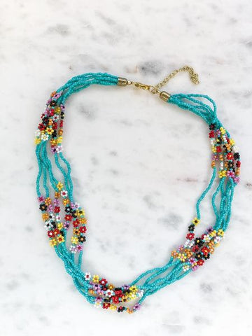 Daisy Seed Bead Flower Necklace