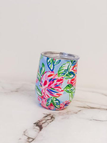 Lilly Pulitzer Stainless Steel Stemless Wine Tumbler - Totally Blossom
