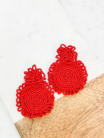 Double Circle Beaded Earrings Red