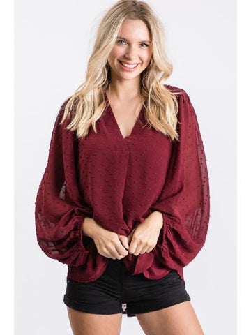 Swiss Dot Balloon Sleeve Top Burgundy