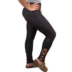 'Black' Criss Cross Bottom Leggings by Simply Southern