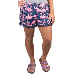 Pom Pom Accent Shorts by Simply Southern - Flamingos