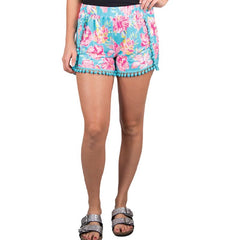 Pom Pom Accent Shorts by Simply Southern - Hibiscus