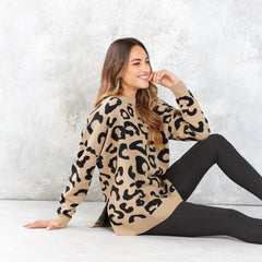 Baye Leopard Sweater by Mud Pie - Tan