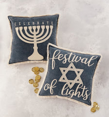 Hanukkah Canvas Pillows by Mud Pie - Choice of Style