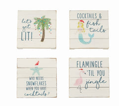 Planked Sea Christmas Coasters by Mud Pie