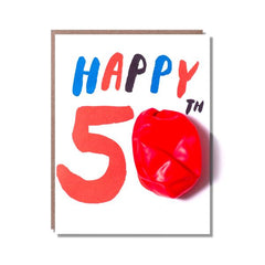 'Happy 50th Birthday' Balloon Greeting Card