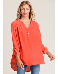 Amie Hi-Lo Roll Tab Tunic Top