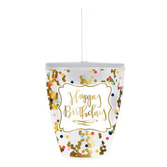 'Happy Birthday' Double Wall Confetti Stemless Tumbler