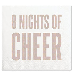 '8 Nights Of Cheer' Silver Foil Beverage Napkins