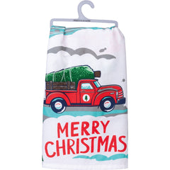 'Truck & Tree Merry Christmas' Kitchen Towel by PBK