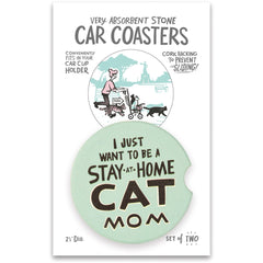 'Stay At Home Cat Mom' Car Coasters by PBK - Set of 2