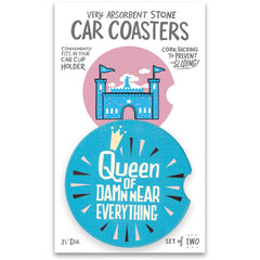 'Queen Of Everything' Car Coasters by PBK - Set of 2