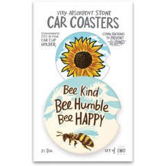 'Bee Kind Bee Humble Bee Happy' Car Coasters by PBK - Set of 2