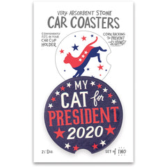 'My Cat For President 2020' Car Coasters by PBK - Set of 2