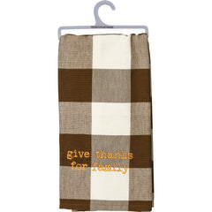 Buffalo Check Dish Towel - Give Thanks for Family