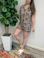 Short Sleeve Button Up Pajama Set - Leopard