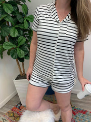 Short Sleeve Button Up Pajama Set - Striped