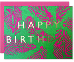 'Happy Birthday' Pink Palms Card by J. Falkner
