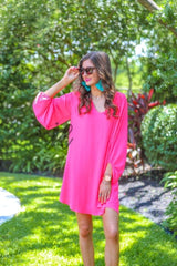 Balloon Sleeve Dress - Neon Pink