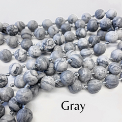 Riley Semi Precious Long Beaded Necklace - Gray