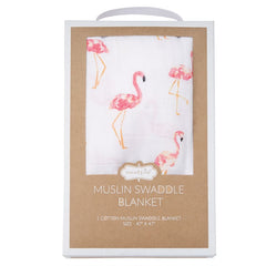 'Flamingo' Muslin Swaddle Blanket by Mud Pie