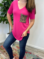Kathryn Short Sleeve Leopard Pocket Top - Hot Pink