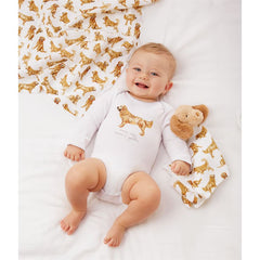 Golden Retriever Crawler and Bib Set by Mud Pie