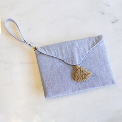Madison Seersucker Wristlet Clutch