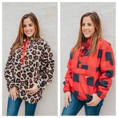 Buffalo Check & Leopard Reversible Pullover by Simply Southern