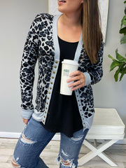 Candace Snap Button Cardigan - Gray Leopard