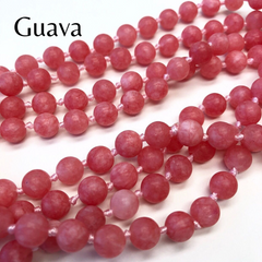 Riley Semi Precious Long Beaded Necklace - Guava