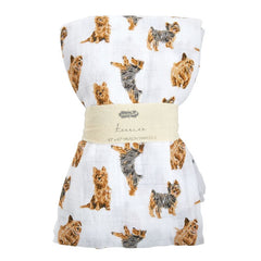 Terrier Muslin Swaddle Blanket by Mud Pie