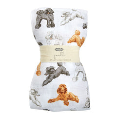 Poodle Muslin Swaddle Blanket by Mud Pie