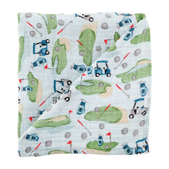 Golf Muslin Swaddle Blanket by Mud Pie