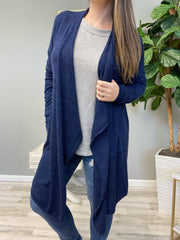 Draped Open Front Cardigan - Navy