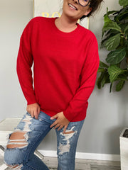 Trina Basic Sweater - Ruby