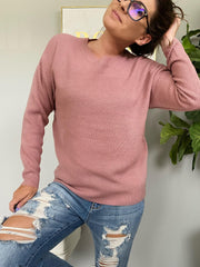 Trina Basic Sweater - Rose