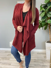 Draped Open Front Cardigan - Burgundy