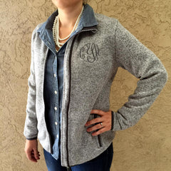 Cindy Heathered Zip Up - Monogrammed (3-4 Week Production Time)