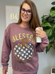 'Blessed' Buffalo Check Pumpkin Crewneck Sweatshirt by Simply Southern