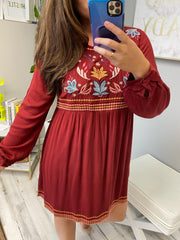 The Fall Embroidery Dress (Ships in 1-2 Weeks)