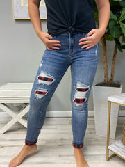 Plaid Peek-A-Boo Jeans (Ships in 1-2 Weeks) - 11/3